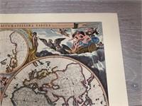 """Reprint 17th Century """"Global Map by N. Visscher,"""