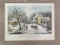 "1952 ""American Homestead Winter"" Hand Colored"