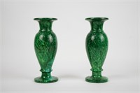 Pair of Vibrant Green Alabaster Vases