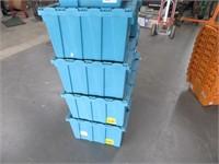 Lot (9) Blue FoldTop HeavyDuty Storage Crates