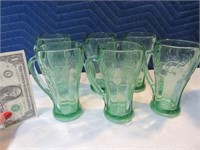 Lot (6) CocaCola Handled Green Glasses