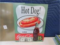 Lot (2) Mint Coca-Cola Metal Signs Decor