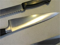 Lot (4) Kitchen Knives Henckles~Sheffield Sharpenr