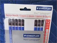 New STAEDTLER 12pc Mars Lumograph Pencils 6/6
