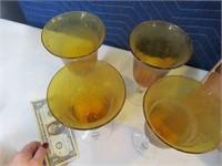 "Lot (4) New Handblown Amber Glasses Decor 8"""