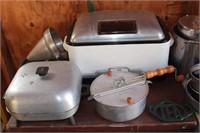 Pots, pans, camping griddle, slow cooker etc