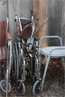 2 wheel chairs & portable invalid toilet