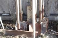 7pcs - snow shovel, spade, trencher & cement hoe