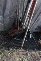9pcs - leaf & garden rakes w/ extra heads