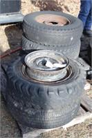 Pallet of misc tires, 8 bolt rim, 5 bolt rim