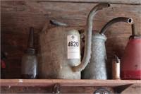 Vintage oil cans, funnels, antifreeze pail & more