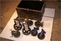 8 large shop casters w/ metal tool box (9pcs)