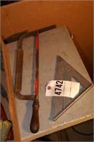 handyman tools - 2 hacksaws, square, chalk