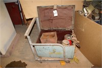 metal tool trunk w/ hooks, chain pieces & sling pc