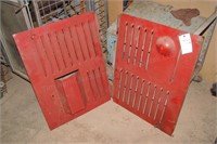 2 red side panels for a chipper, generator or weld