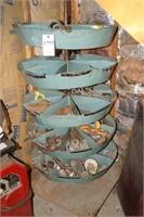 Rotating hardware bin w/ chain & trailer hardware