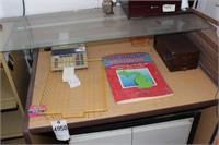 desk & contents - includes metal cabinet & sorter