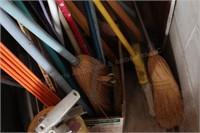 Brooms, Handles, yard stick & driveway markers