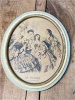 Two Oval Framed Art
