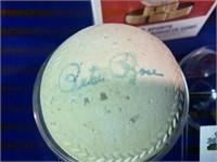 Rubber baseball signed by Pete Rose, Steve