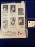 Full sheet of Babe Ruth Picture Cards