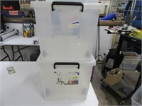 Lot (3) Nice Clear Poly Storage Tubs
