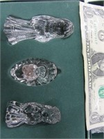 """3pc WATERFORD Crystal 4"""" Nativity Glass SET"""