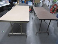 Lot (2) Heavy Wood Folding Tables 6' & 5'