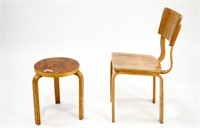 Alvar Aalto Wood Stool and Thonet Wood Chair