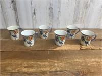 Set of Six Hand Painted Tea Cups
