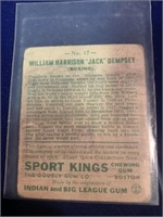 1933 Sport Kings Gum Jack Dempsey Card