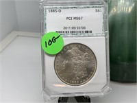 1885-O PCI MS67 GRADED SILVER MORGAN DOLLAR