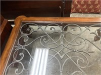 IRON WOOD AND GLASS SCROLL COFFEE TABLE