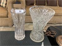 2PC CRYSTAL / CUT GLASS VASE
