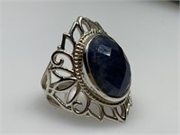 LARGE STERLING SILVER RING W LG STONE