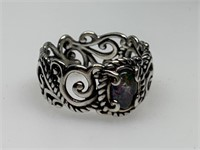 STERLING SILVER HEAVY SCROLL RING