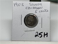 1903 SILVER CANADIAN 5 CENT PIECE