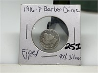 1916 BARBER SILVER DIME COIN