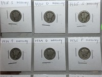 SHEET OF MIXED DATE SILVER MERCURY DIMES TEENS UP