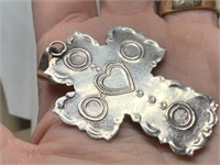 LARGE STERLING SILVER STONE CROSS