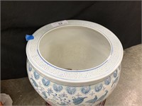 LARGE CHINESE ENAMELED PLANTER W STAND