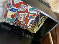 ORNATE HOPE CHEST / TRUNK W LOTS OF BLANKETS