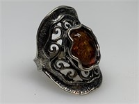 STERLING SILVER LARGE AMBER RING