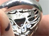 LARGE STERLING SILVER GEMSTONE RING