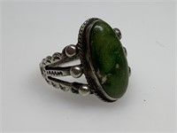 STERLING SILVER LG GREEN TURQUOISE RING