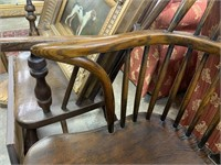 ANTIQUE SPINDLE CHAIR / SHARP ANGLED ARMS LOOK