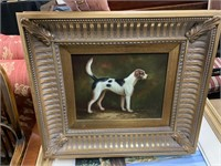 FRAMED ORIGINAL PAINTING OF A DOG UNSIGNED