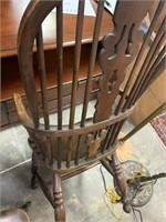 ANTIQUE WOOD BENT ARM SPINDLE WOOD CHAIR