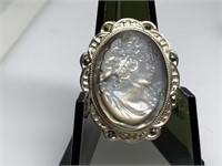 STERLING SILVER CAMEO BROOCH CARVED SHELL
