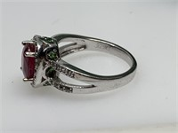 STERLING SILVER LG RED STONE RING